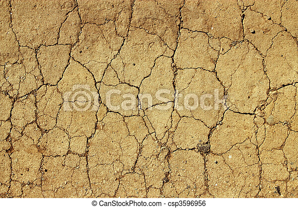 Dry cracked mud close up natural abstract background. - csp3596956