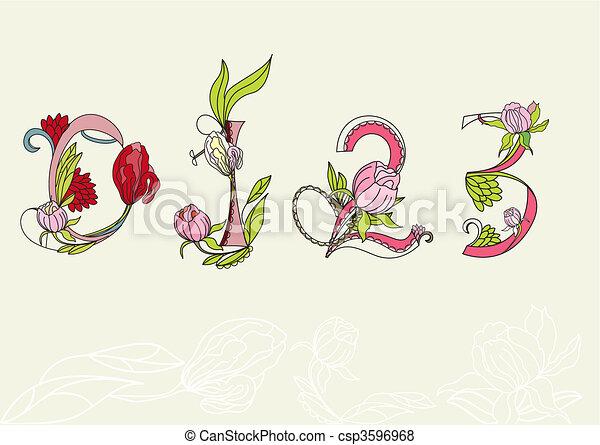 Floral font. Number 1,2,3,4 - csp3596968