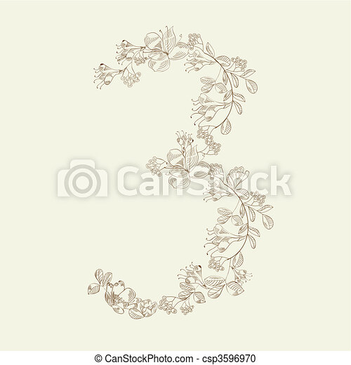 Floral font. Number 3 - csp3596970