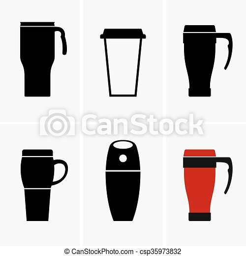 Vector Portable Coffee Maker : Vectors of Coffee travel mugs, shade pictures csp35973832 - Search Clip Art, Illustration ...