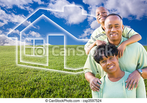 Family Over Grass Field, Clouds, Sky and House Icon - csp3597524