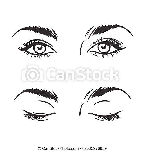 clipart vector of beautiful eyes open  closed vector Sleeping Eyelash Clip Art Dog with Eyes Closed