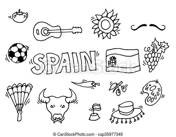 Vecteur eps de amour espagne doodles symboles de espagne vecteur csp35977349 - Dessin espagne ...