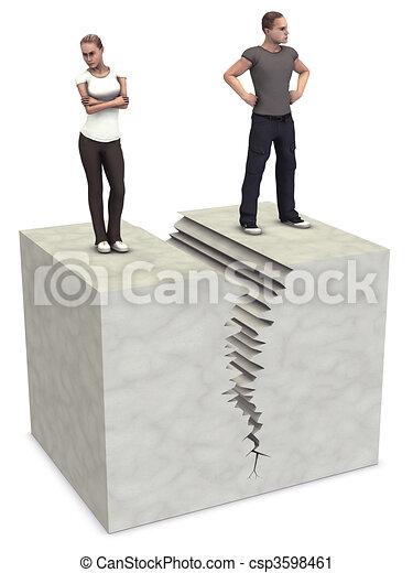 Man Woman 3D couple split divorce crack break up - csp3598461
