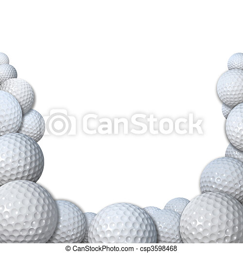 Many Golfballs as Golf Sports Border copy space - csp3598468