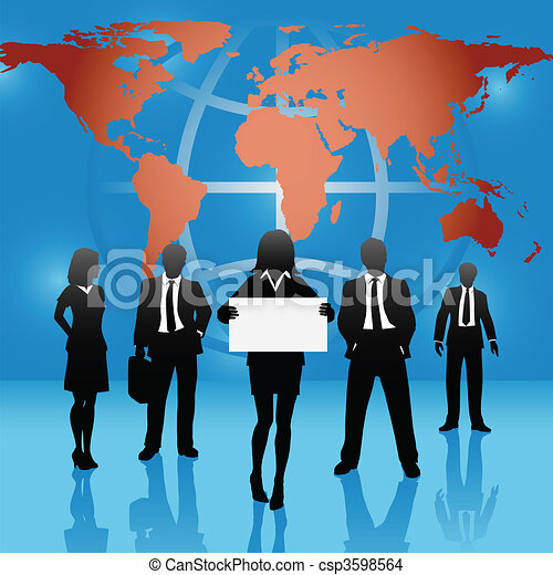 Global map world business people team hold sign - csp3598564