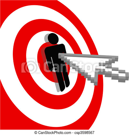 Internet arrow clicks stick figure bulls eye target - csp3598567