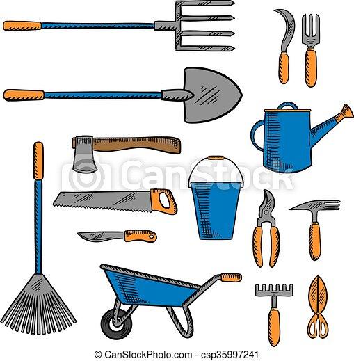 Eps vector de bosquejo jardiner a coloreado mano - Herramientas de jardineria 94 ...