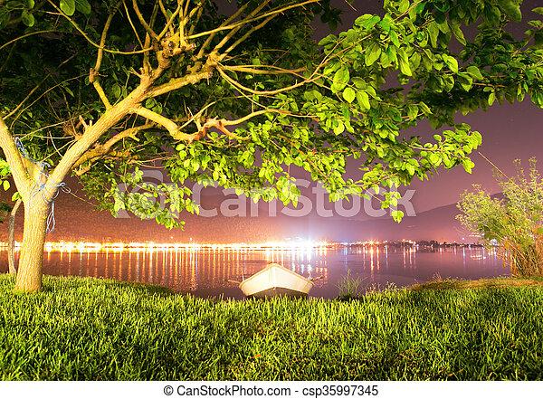 Greece night sea landscape - tree and boat