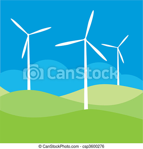Windmill On The Field Vector Vector Clipart - Instant ...