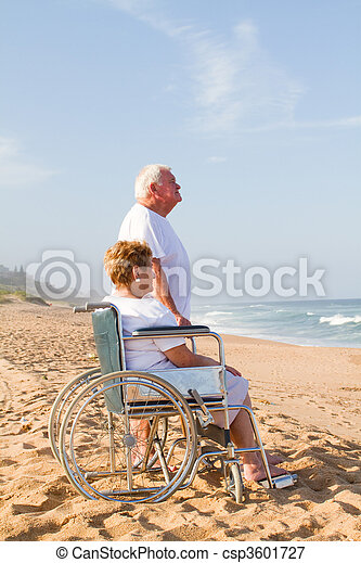 senior couple on beach - csp3601727
