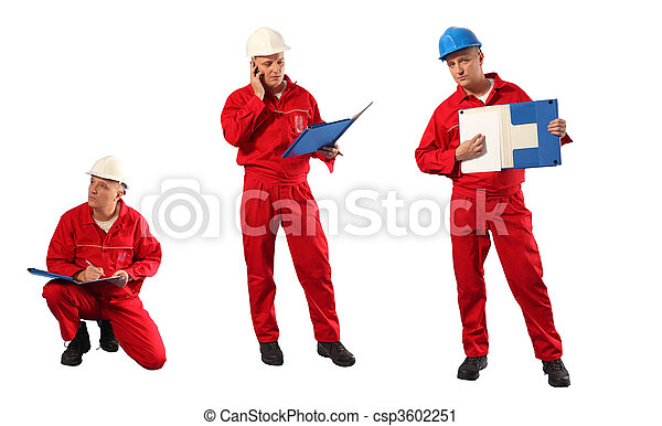 inspector in red uniform and hardha - csp3602251