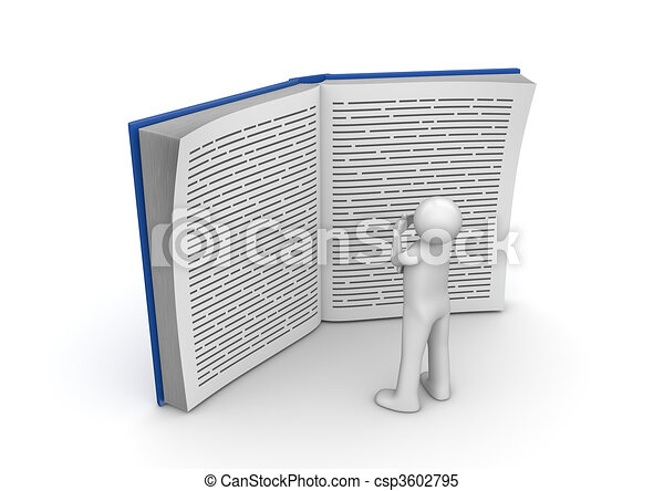 Education collection - Man reading huge book - csp3602795