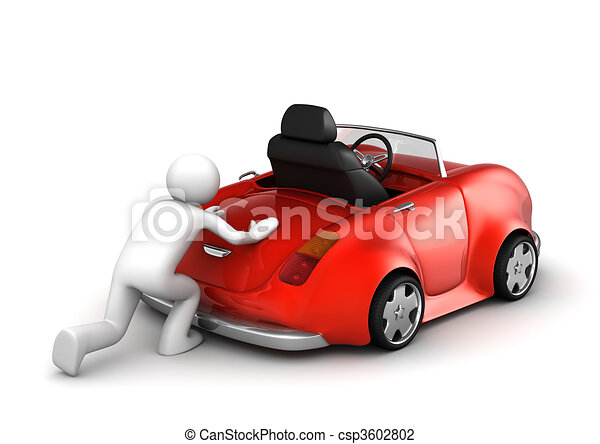 Clip Art of Microworld collection - Pushing failed car ...