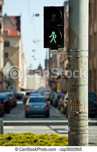 Crosswalk lights in a residential neighbourhood in Wroclaw - csp3602865