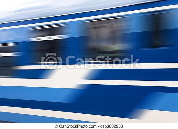 Blue speed train in motion  - csp3602953