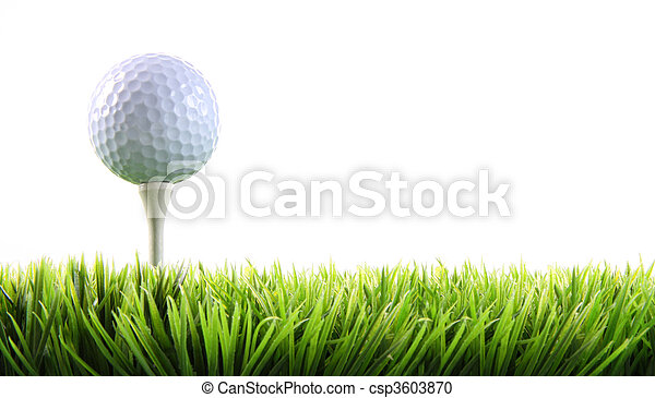 Golf ball with tee in the grass  - csp3603870