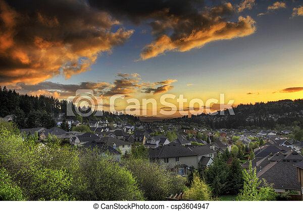 Sunset Sky at the Suburbs - csp3604947