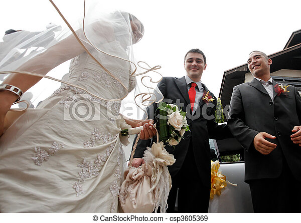 Stock Photographs of Wedding ceremony - Groom and his best man taking the bride...