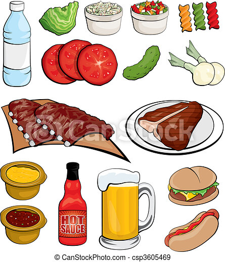 Barbecue Food Icons - csp3605469