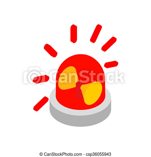 Drawing of Siren red flashing emergency light isometric icon ...