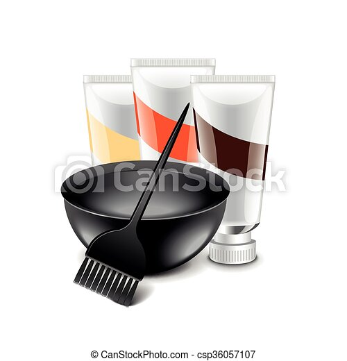 Vector Clipart Of Hair Dye Tools Isolated On White Vector