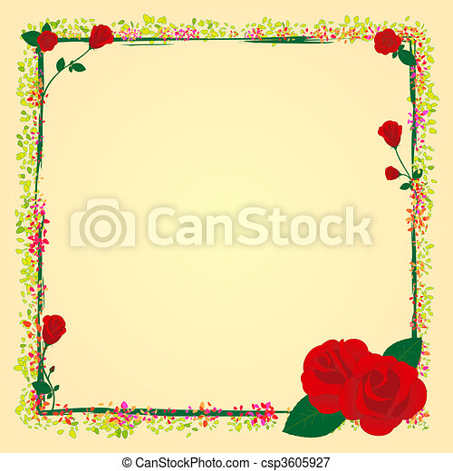Summer rose garden flower frame - csp3605927