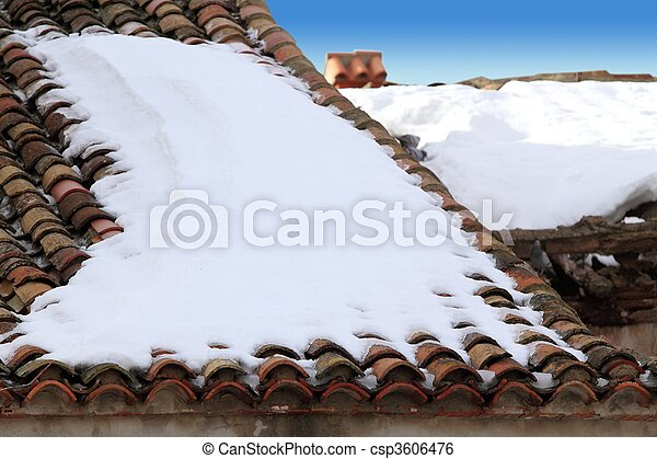aged clay roof tiles snowed under winter snow - csp3606476