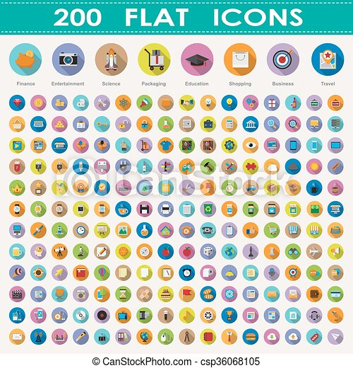 200 flat icons collection - csp36068105