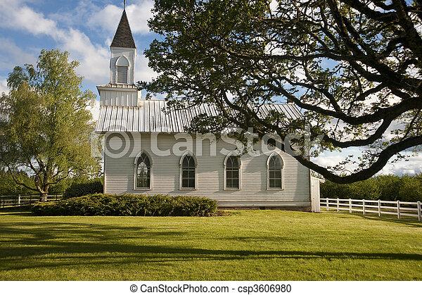 Old white rural church - csp3606980