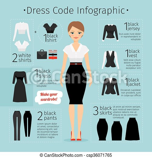 Upscale Dress Code Women Clip Art Vector Of Business Woman Clothes Infographics