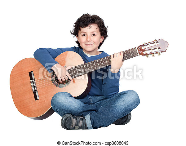 Music student playing the guitar - csp3608043