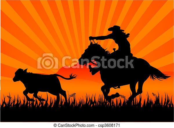 Riding cowboy - csp3608171