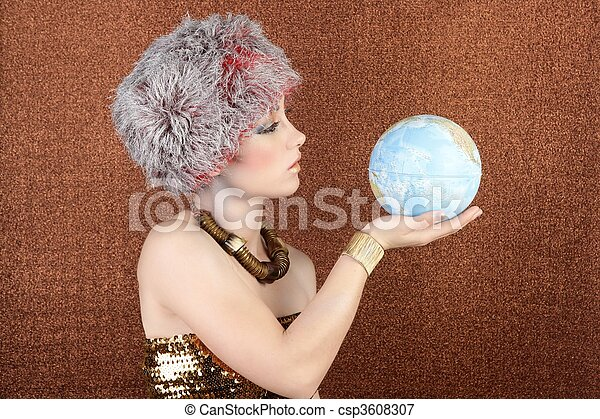 fashion silver gold woman looking global map - csp3608307