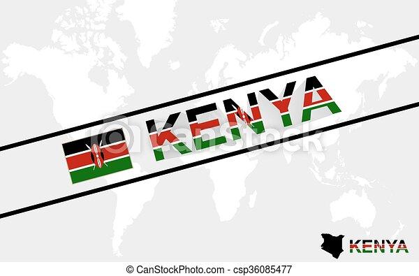 Kenya map flag and text illustration - csp36085477