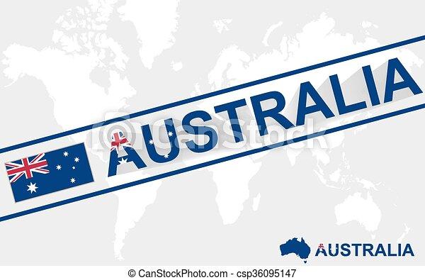Australia map flag and text illustration - csp36095147