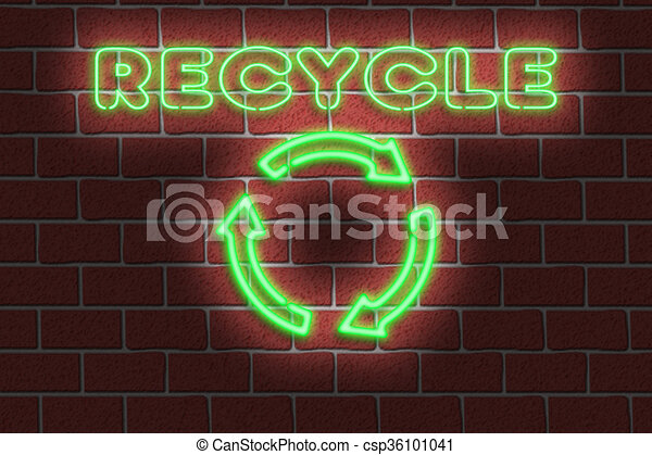 Neon RECYCLE sign - csp36101041