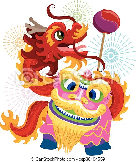 Clipart Vector of Chinese New Year Lion Dragon Dance ...