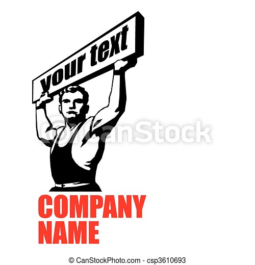 strong man with placard - csp3610693