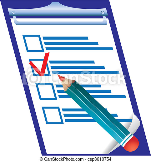 Right answer on checking blank and pensil, vector illustration - csp3610754