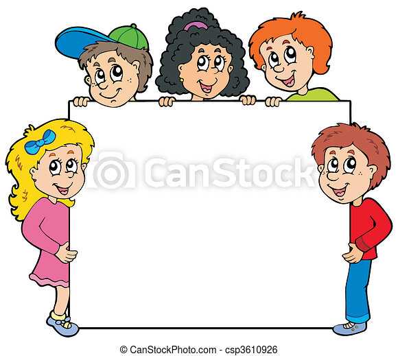 Various kids holding board - csp3610926