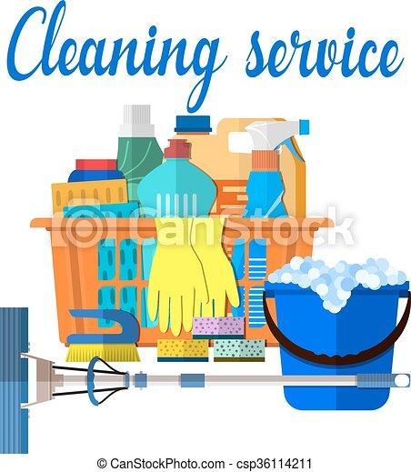Vector clip art de casa productos limpieza accesorios - Fotos de limpieza de casas ...