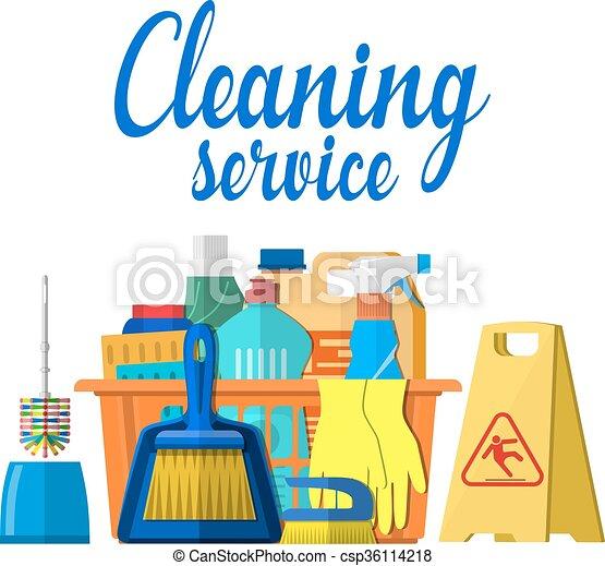 Vector clip art de casa productos limpieza accesorios - Imagenes de limpieza de casas ...