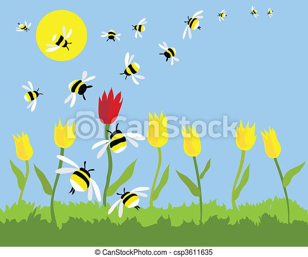 Clipart vettoriali di api mano disegnato vettore api for Ahuyentar abejas jardin