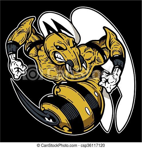 Vector Illustration of hornet mascot - mean hornet or wasp mascot ...