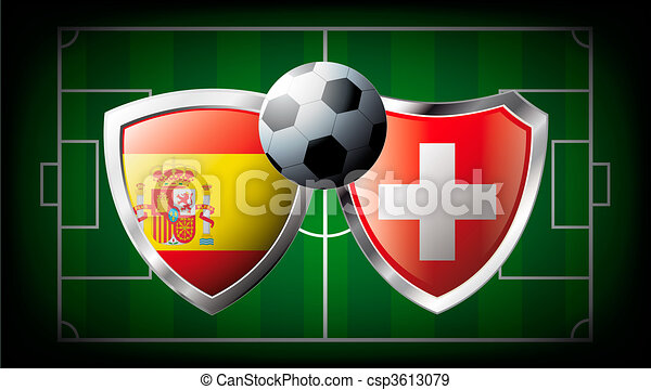 Spain versus Switzerland abstract vector illustration isolated on white background. Soccer match in South Africa 2010. Shiny football shield of flag Spain versus Switzerland - csp3613079