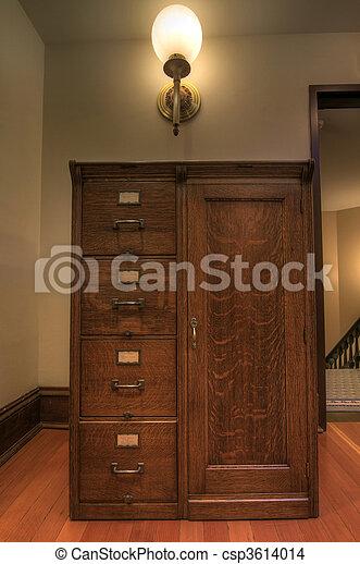 Antique Oak Filing Cabinet - csp3614014