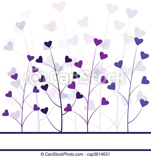 Love purple forest , hearts foliage - csp3614631