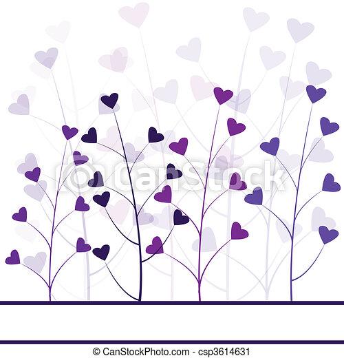 Love purple forest , hearts foliage - csp3614631