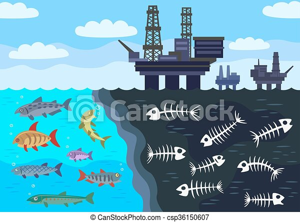 Vector Clipart of Sea water pollution by oil. - Marine extraction of oil is... csp36150607 ...